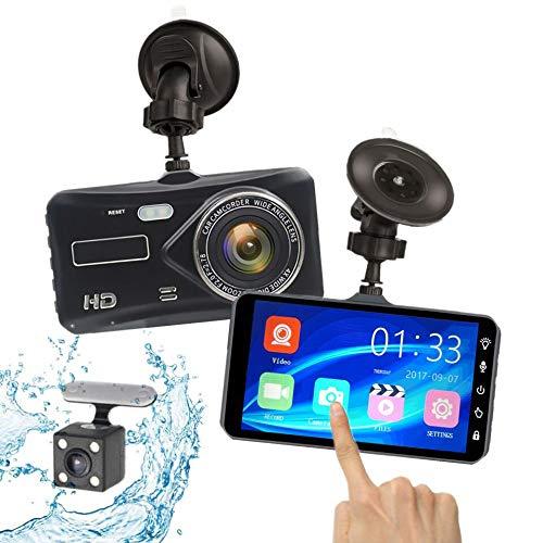 HKANG X97 Dash Cam - Full HD 1080p Videocamera da cruscotto DVR-170 ° Grandangolare - 4 Pollici Touch Anteriore e Posteriore a Doppia Registrazione in Lega Custodia Fotocamera per Auto