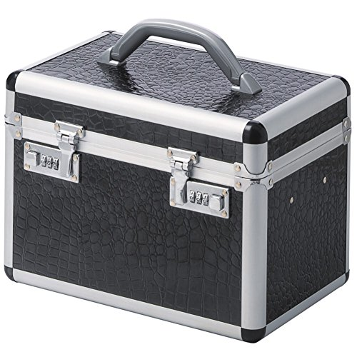 Beauty Case Silber (Beautycase Schminkkoffer Kosmetikkoffer Aluminium schwarz silber KROKOPRÄGUNG)