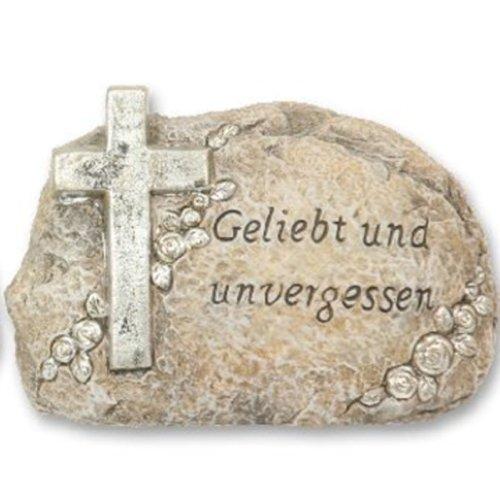 floristikvergleich.de 16cm Grab Schmuck Deko Kreuz Stein Grabschmuck Grabstein mit Inschrift Trauer