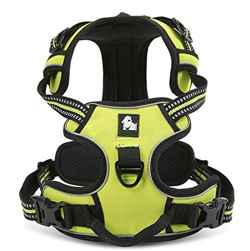 Rantow 3M Reflektierendes Hundegeschirre Einstellbares Sicherheitsgeschirre, weicher Laufgeschirre für große / mittlere / kleine Hunde, Grün (S (43-56cm))