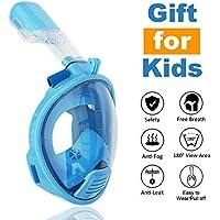 ROADWI Máscara de Snorkel de cara Completa , Equipo de Buceo de 180 Grados, Máscara de Buceo con Máscara de Buceo Fácil, Diseño Antifugas con Cámara de Acción para Adultos y Niños (Azul, XS)