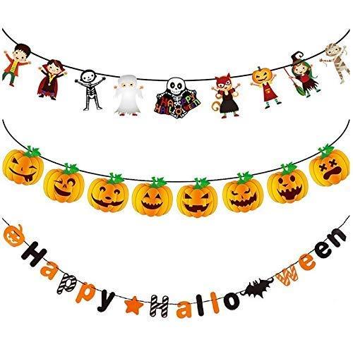 en Fahnen Fahnen, Halloween Party Hänge Dekorationen Supplies Happy Halloween Banner Kürbis Wizard Mummy Hexe Schädel und Fledermaus für drinnen und draußen ()