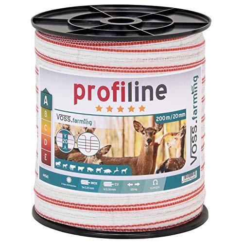 ruban de clôture électrique 200 m 20 mm conducteur 5 x 0,2 mm acier inoxydable + 1 x 0,3 cuivre fil câble clôture cheval chèvre mouton poney