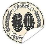 60. Geburtstag Aufkleber | rund | 9,5cm groß