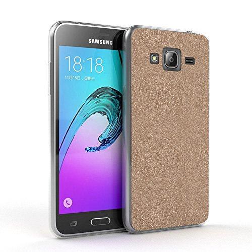 EAZY CASE GmbH Hülle für Samsung Galaxy J3 (2016) Schutzhülle mit Glitzerrückseite, Ultra dünn, Silikon Slimcover, Handyhülle, TPU Hülle/Soft Case, Silikonhülle, Backcover Quartz Design, Champagner