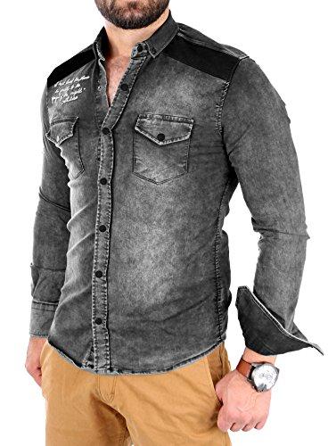 Tazzio Jeanshemd Herren Denim Vintage Look Langarmhemd TZ-16314 Schwarz