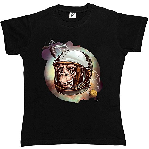 Fancy A Snuggle Monkey Smoking Cigarette In Space Wearing Spacesuit Womens T-Shirt