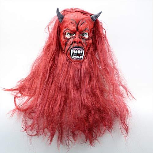 ZX Maske Teufel Satan Rote Haare Bösen Geistern Hörner Latex Material Halloween Perücke,rot,Haarlänge 60 cm