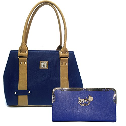 Alice Pu Leather Women\'s And Girl\'s Handbag And Wallet Clutch Combo (Bluec) (233)