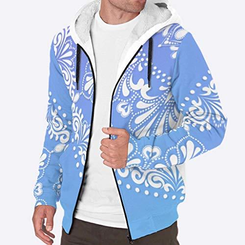O4EC2-8 - Chaqueta con Capucha y Cremallera para Hombre, diseño de Mandala Azul y Blanco Estampado, Color Lila, Unisex, Blanco, XXX-Large