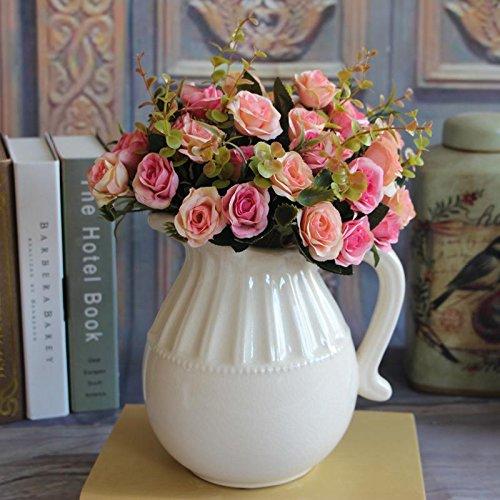 (MingXiao Hot Elegante Europäische Dunkelrosa Künstliche Rose Silk Flower Bouquet Aufkleber)