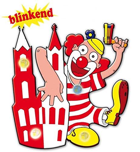Blinkie Motiv Dom-Clown blinkend Anstecker Karneval Accessoire Köln