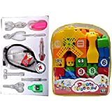Combo Of Educational Learning Doctor Play Set (classic) With 40pcs. Building Blocks For Kids