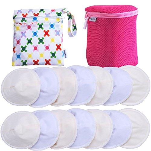 Baby Bliss® Premium-Stilleinlagen Waschbar & Konturiert | Travel-Set: 14er-Pack + Wäsche- + Reisebeutel | Extra Weich, Super Saugstark, Auslaufsicher | Wiederverwendbar, Atmungsaktiv, Sanft zur Haut