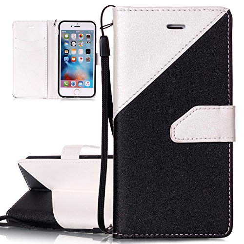 Custodia iPhone 6 - Cover Apple iPhone 6s - ISAKEN Accessories Cover in PU Pelle Bronzing Oro farfalla Leather Custodia Rigida Libro Bookstyle Wallet Flip Portafoglio Copertura Anti Slip Protezione An nero+bianco
