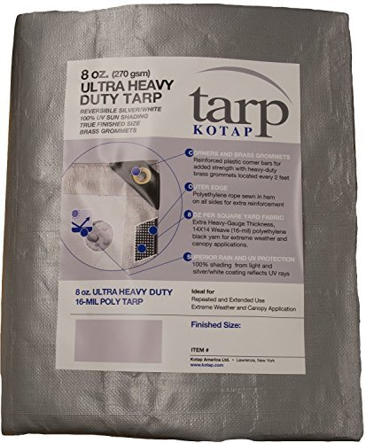 Kotap TUH-1020 Finished Size Ultra Heavy-Duty 8 oz/16-mil Poly Tarp, 10' x 20', Reversible Silver/White by Kotap