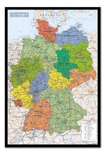 Bestrice Deutschland Karte Pinnwand-Kork Board mit Pins gerahmt in schwarz Holz inkl. Stecknadeln, 96,5x 66cm (ca. 96,5x 66cm) -