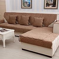 YANGYAYA Acolchado de Felpa,Antideslizante Color Sólido Sofá Fundas Universales ' Todo Incluido ' Fundas de Toalla de sofá Protector de Muebles-Brown 70x90cm(28x35inch)