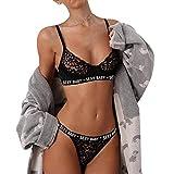 Ensemble de Lingerie, Manadlian Lingerie Femmes filles sexy lingerie bandage sport sous-vêtements ensemble soutien-gorge + pantalons (M, Noir 1)