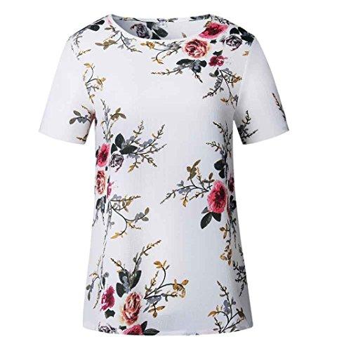 XXYsm Damen Blusen Kurzarm Sommer T-Shitr Kurzarm Oberteil Bluse Shirt Damen Locker Oberteil Off Shoulder Bluse Sommer Shirt Pullover Tops Damen Blumen (XXL, Weiß)