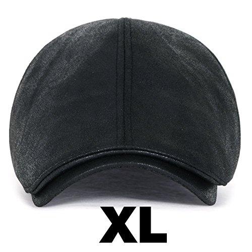 ililily Flat Cap Vintage Cabbie Hut Gatsby Ivy Cap Irish Hunting Newsboy Stretch (XL, XL-Black)