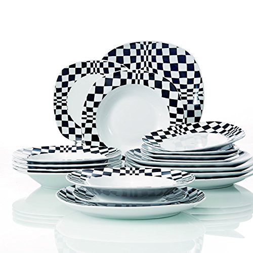 "VEWEET 'Louise' 18-Piece Ivory White Porcelain Black Mosaics Dinner Sets of 6 * 9.75"" Dinner Plate, 6 * 7.5"" Dessert Plate, 6 * 8.5"" Soup Plate"