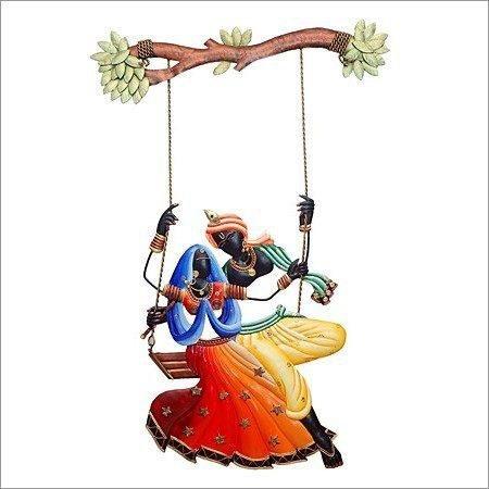 Karigaari India Radha Krishna on Swing Wall Hanging Showpiece