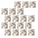 perfeclan 18x Paneles de Pared de PVC 3D Pegatina Decorativa Pared Mosaico Azulejo Cristal Uso Doméstico 10x10cm - 5