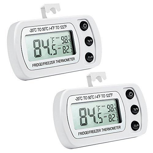 【2019 New】 ORIA Kühlschrank Thermometer, 2 Pack Digitale Wasserdichte Gefrierschrank Thermometer mit Max/Min, Haken Gut Lesbarem LCD-Anzeige, Perfekt für Hause, Bars, Cafés, etc