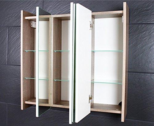 Galdem FROSTI Spiegelschrank 70cm Badezimmerschrank Wandschrank Badmöbel 3 Spiegeltüren 6 Einlegeböden Sonoma Eiche Dunkel - 2