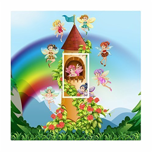 sticar-it LTD Cute Fairy Castle & Regenbogen Motiv Lichtschalter-Aufkleber Vinyl Cover Haut Aufkleber für Kinder Kinderzimmer