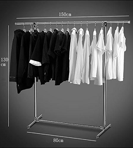 Single-Rack-Trockengestelle Stand-Indoor-Balkon Trockengestelle einfache bewegliche Kleiderbügel Edelstahl Wäscheständer ( größe : 150*130*45cm )