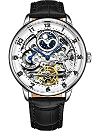 Stuhrling Original Mens Skeleton Automatic Watch - Analog Dial, Dual Time, AM/PM Sun Moon 3925 Mens Wrist Watch Collection (Silver)
