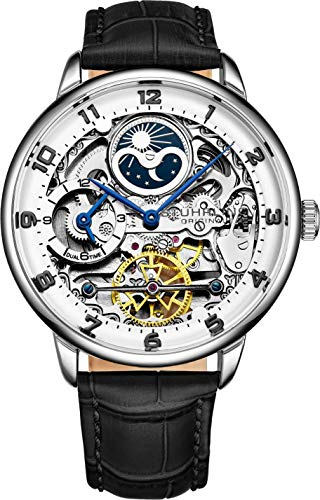 Stuhrling Original Mens Skeleton Automatikuhr - Analoges Zifferblatt, Dual Time, AM/PM Sun Moon 3925 Herrenuhr für Armbanduhren (Silver)