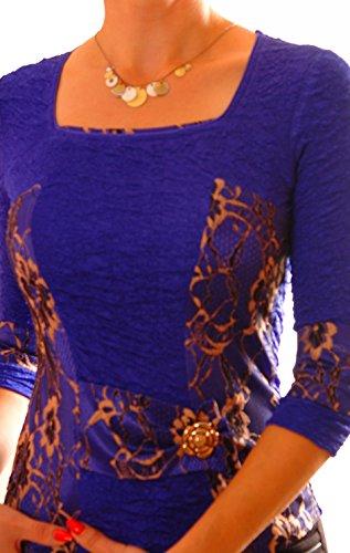 PoshTops Korsett Stil Damen Bluse mit Carré-Ausschnitt Dehnbares Strukturiertem Material Damenshirt 3/4 Ärmel Größen S �?XXXL Abendkleidung Freizeitkleidung Plus Size Kleidung Königsblau