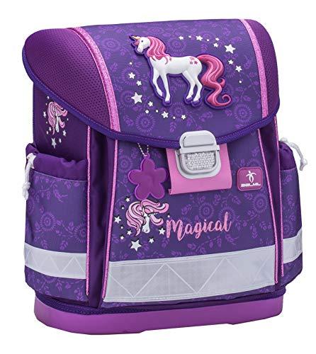 Belmil Ergonomischer Schulranzen Mädchen 1. klasse 2. klasse 3. klasse - Super Leichte 900-960 g/Grundschule/Pferde Pony/Lila (403-13 Magical)