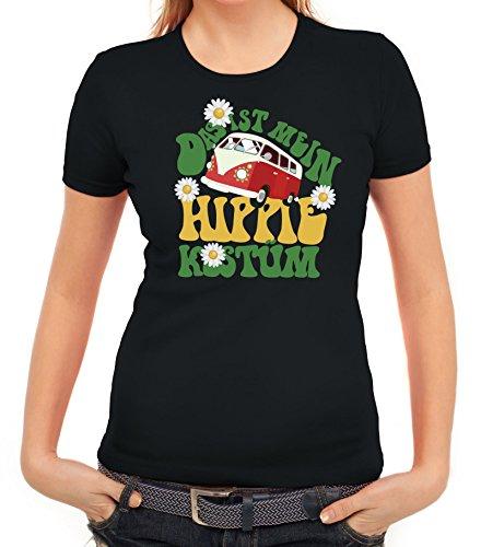 Fasching Karneval Damen T-Shirt mit Das ist mein Hippie Kostüm Motiv von ShirtStreet, Größe: M,schwarz