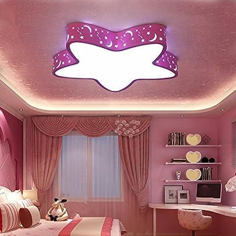 GQLBChambre d'enfant Lustre Garçons Prix Cartoon Star Girl de chambre à l'éclairage LED 450MM, Rose