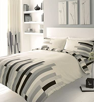 Grey Black & Cream Block Printed Double Duvet Cover Bed Set