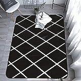 DAMENGXIANG Schwarz Weiß Gitter Geometrie Teppich Für Wohnzimmer Couchtisch Zimmer Schlafzimmer Mat Rutschfeste Fußmatte Soft Home Decor 45×75 cm.