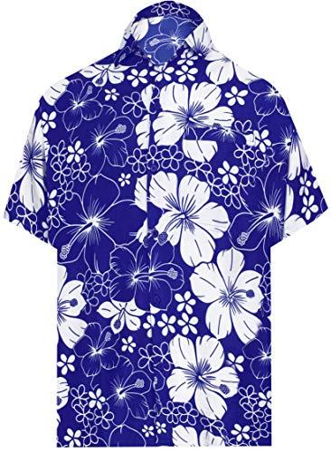 LA LEELAflippiger Hirsch Hawaiihemd | Männer | xs-7XL | Kurzhülse | Front-Tasche | fest | Ebene | Arbeit | Büro | Kleid | lässig Schwimmen Strand Aloha Blau_AA225 XS-Brustumfang (in cms) : 91-96
