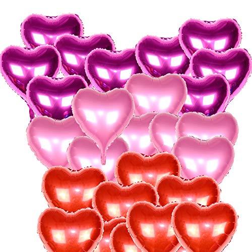 HY 24pcs Globos Metalicos Aluminio de Corazón Helio 3 Colores(18in 46*53cm) con Cinta para Boda Amor Decoración Fiesta día de San Valentín Aniversario Navidad (A)