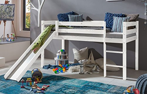 Bett Hochbett TIMO ERNA Spielbett Kinderbett mit Rutsche Weiß Kiefer massiv NEU