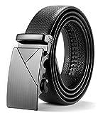 ITIEZY Herren Gürtel Ratsche Automatik Gürtel für Männer 35mm Breit Ledergürtel, Schwarz 134, Länge: Bis zu 49,21 Inches (125cm)
