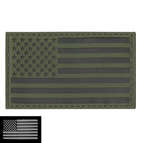 Big 3x5 Olive Drab OD Green Infrared IR USA American Flagge Laser Cut IFF Taktisch Tactical Morale Touch Fastener Aufnäher Patch (Drab Od-olive)