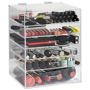 beautify grand rangement 6 niveaux maquillage 5 tiroirs et s parateurs amovibles acrylique. Black Bedroom Furniture Sets. Home Design Ideas