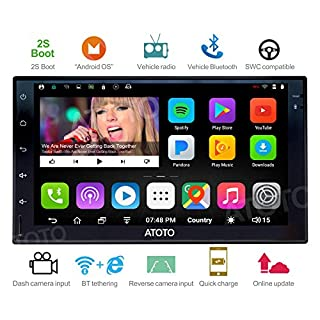 ATOTO A6 2DIN Android Car Navigation Stereo with Dual Bluetooth & 2A Charge -Premium A61710P 1G/16G Car Entertainment Multimedia Radio,WiFi/BT Tethering internet,support 256G SD &more