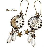 Boucles d'oreilles Le temps d'un rêve cabochon bronze lune chouette cadeau Noël