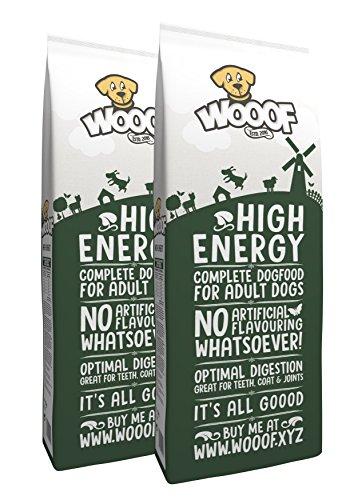 Jetzt neu: Wooof High Energy 28kg kaltgepresstes, besonders energiereiches Hundefutter mit Rind, natürliche Zutaten, hoher Fleischanteil, leicht verdaulich, ohne Weizengluten, Trockenfutter