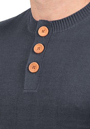 BLEND Leonardo Herren Strickpullover Feinstrick Pulli mit Grandad-Kragen aus hochwertiger Baumwollmischung Ensign Blue (70260)